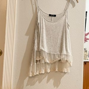 Gray and Embroidered Lace Kaitlyn Tank Top